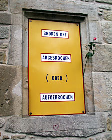L. Weiner, 'BROKEN OFF...', Old City Hall Sindelfingen